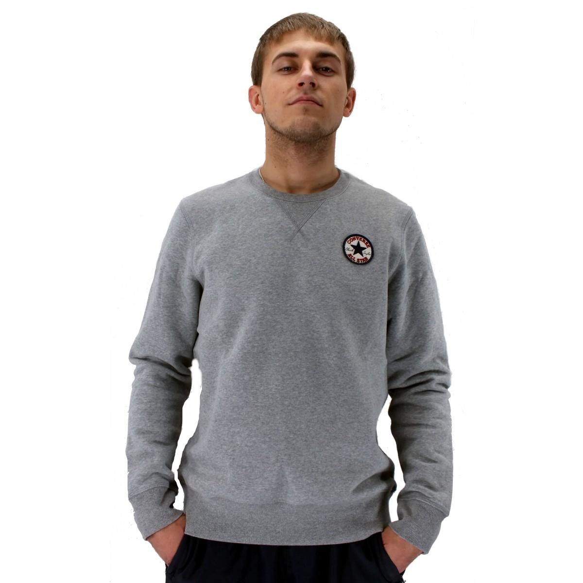 converse core chuck patch fleece pullover sweatshirt herren grau blau schwarz ebay. Black Bedroom Furniture Sets. Home Design Ideas