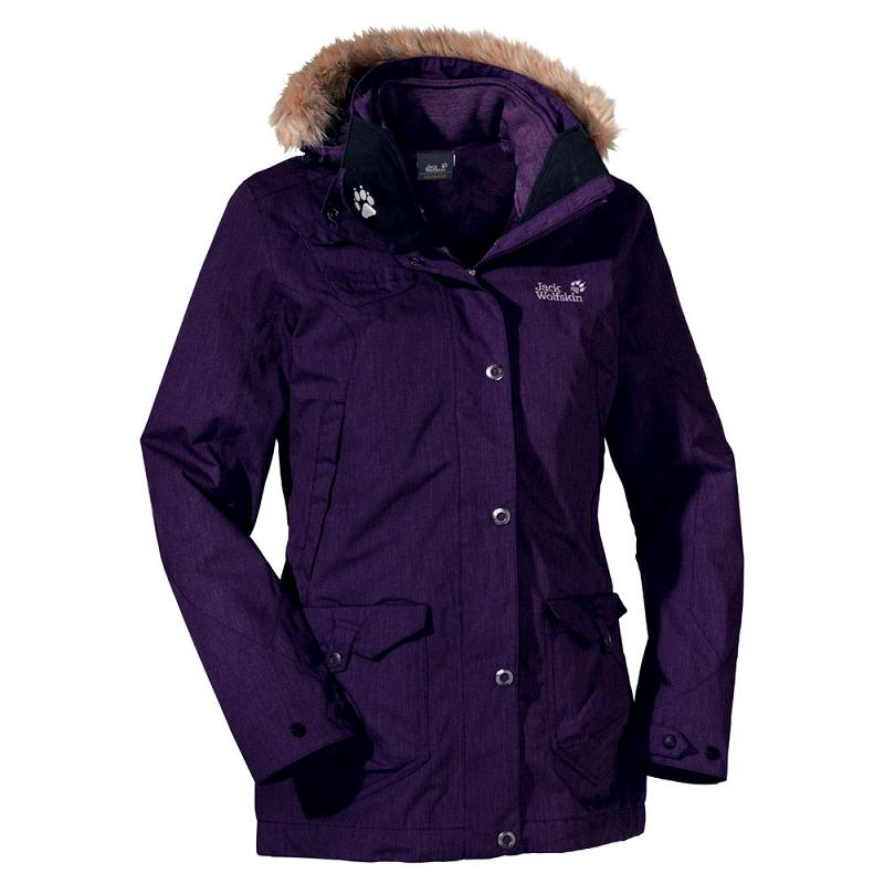 jack wolfskin wave hill parka damen jacke lila s ebay. Black Bedroom Furniture Sets. Home Design Ideas