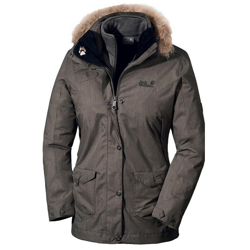 jack wolfskin wave hill parka damen jacke grau ebay. Black Bedroom Furniture Sets. Home Design Ideas