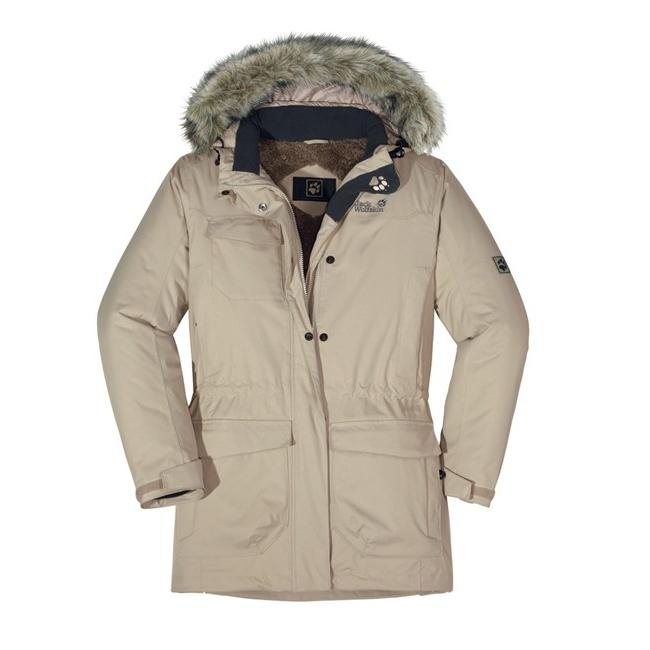 jack wolfskin fairbanks parka jacke winterjacke wintermantel damen braun beige ebay. Black Bedroom Furniture Sets. Home Design Ideas