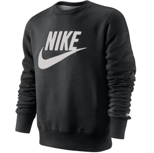 nike pl brushed crew 2 herren sweatshirt pullover schwarz. Black Bedroom Furniture Sets. Home Design Ideas