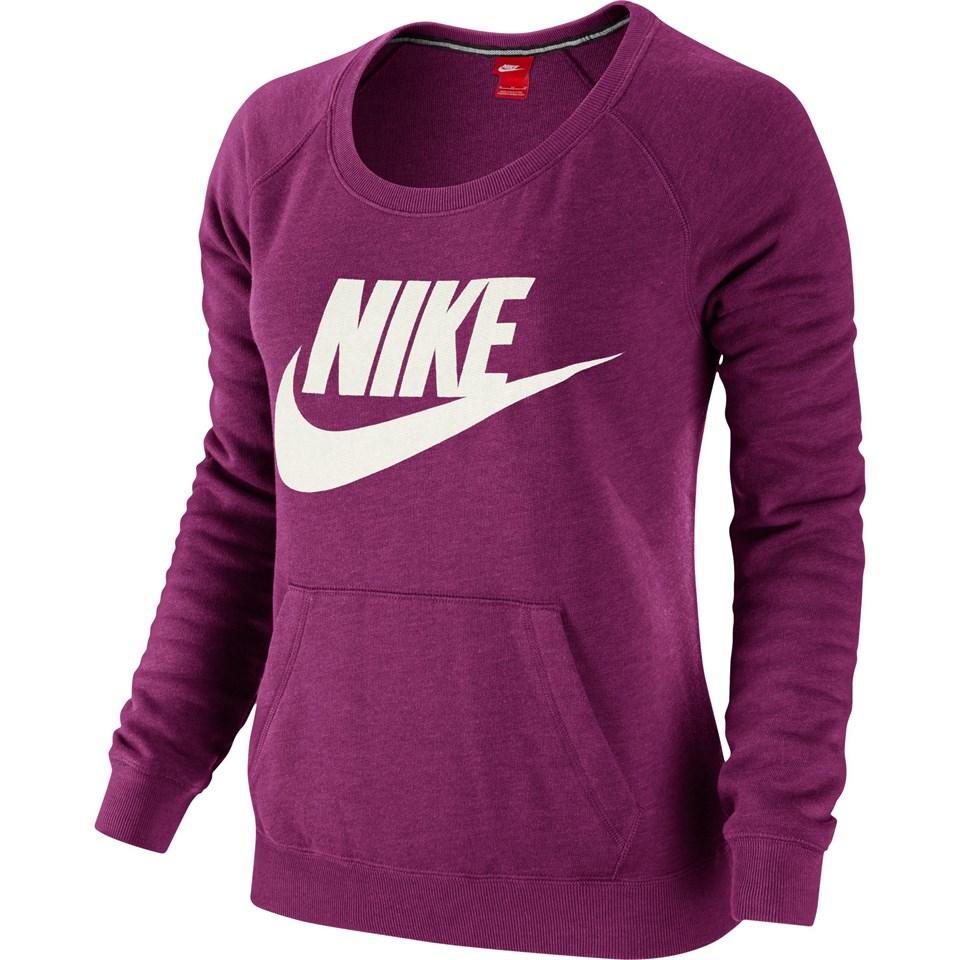 nike rally crew logo shirt sweatshirt pullover sportshirt damen grau lila ebay. Black Bedroom Furniture Sets. Home Design Ideas