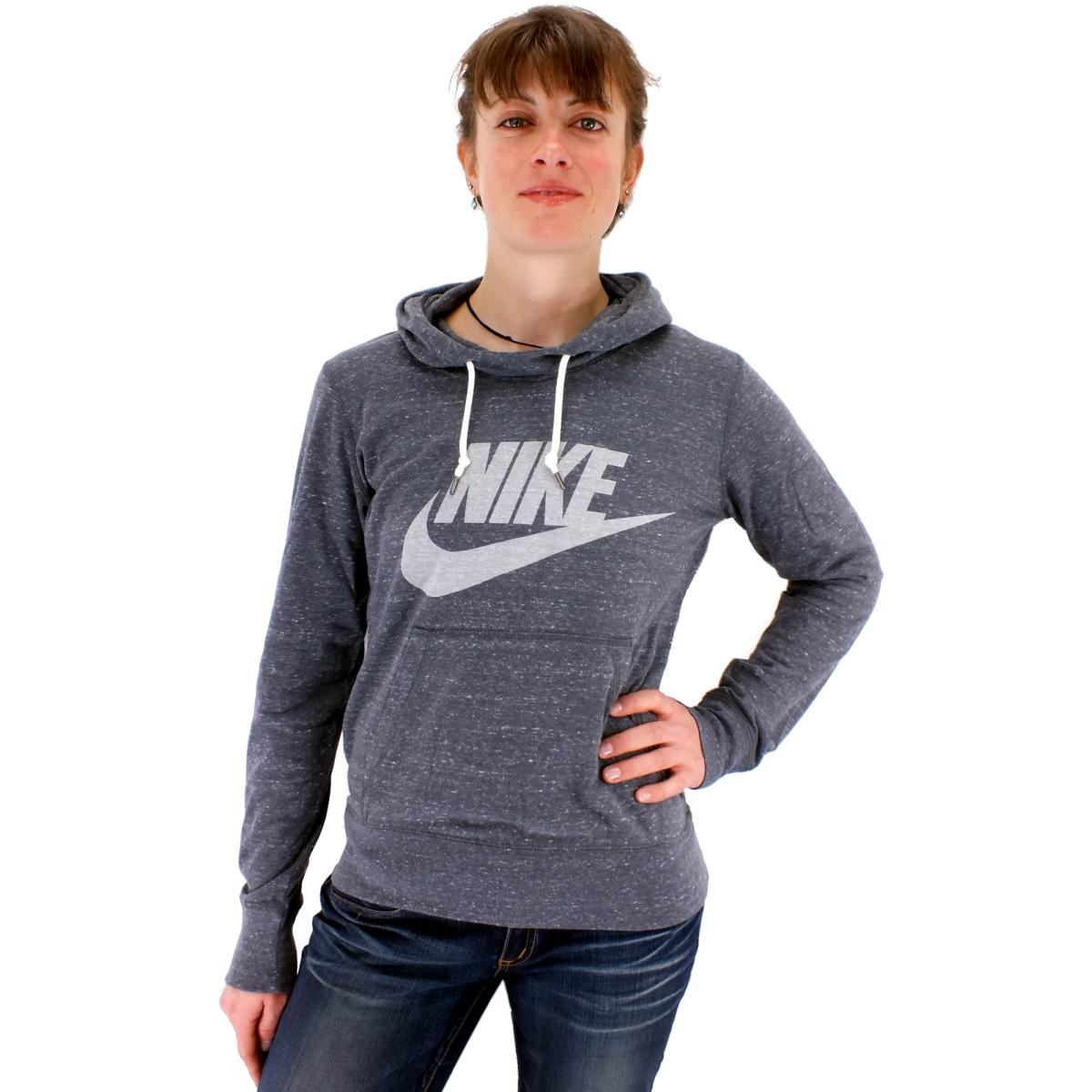 nike gym vintage hoodie logo pullover kapuzenpullover damen grau ebay. Black Bedroom Furniture Sets. Home Design Ideas