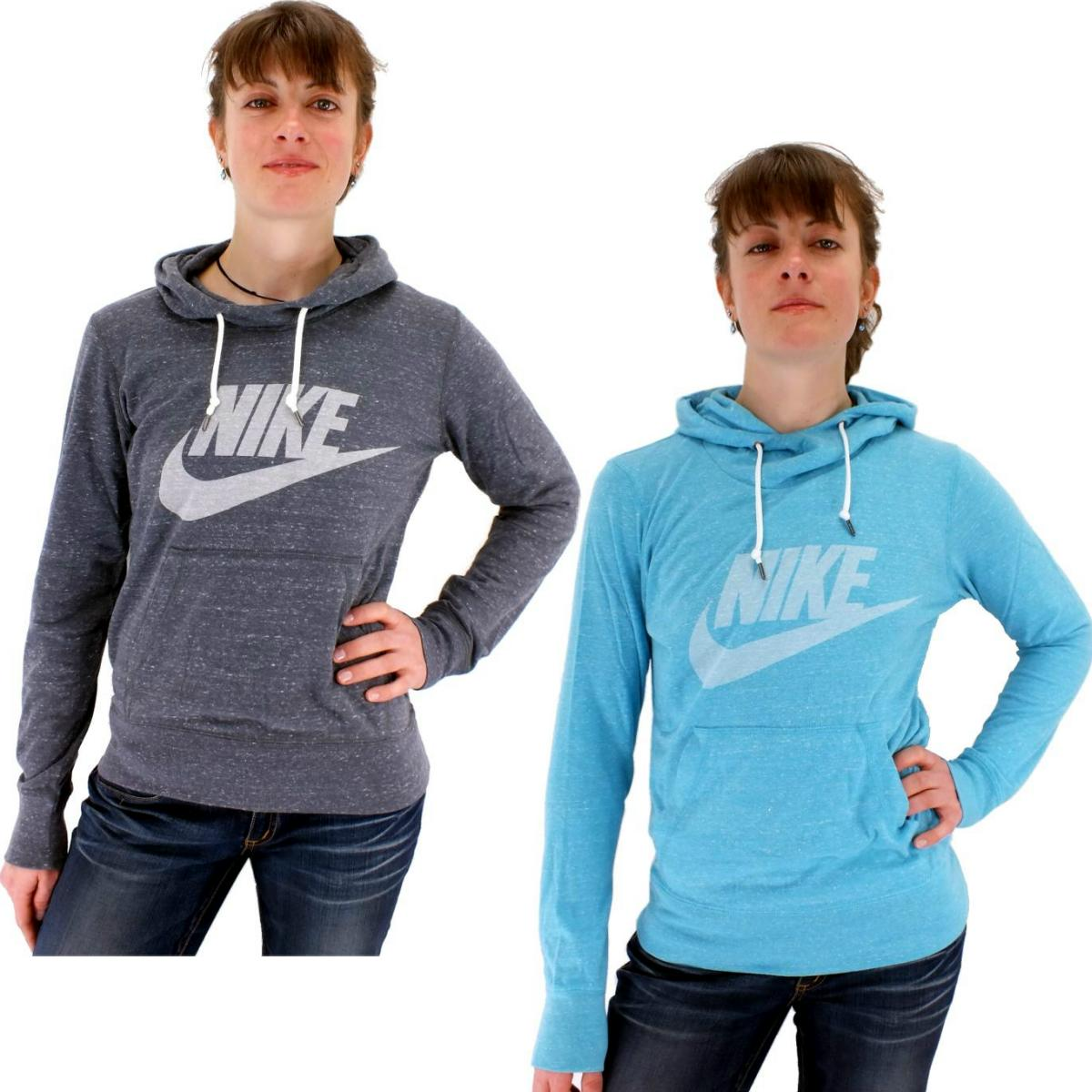 nike gym vintage hoody damen pullover kapuzenpullover sweatshirt grau blau ebay. Black Bedroom Furniture Sets. Home Design Ideas