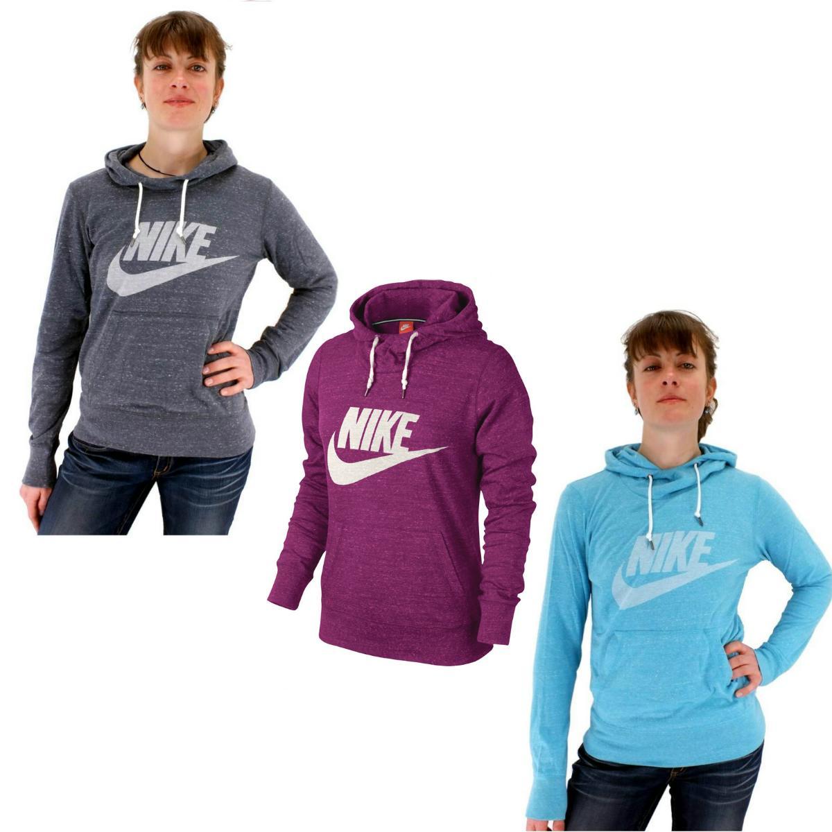 nike gym vintage hoody damen pullover kapuzenpullover sweatshirt grau blau pink ebay. Black Bedroom Furniture Sets. Home Design Ideas