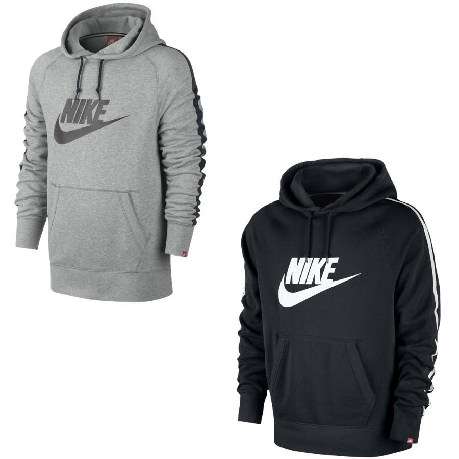 nike aw77 hood logo herren pullover kapuzenpullover sweatshirt schwarz grau ebay. Black Bedroom Furniture Sets. Home Design Ideas