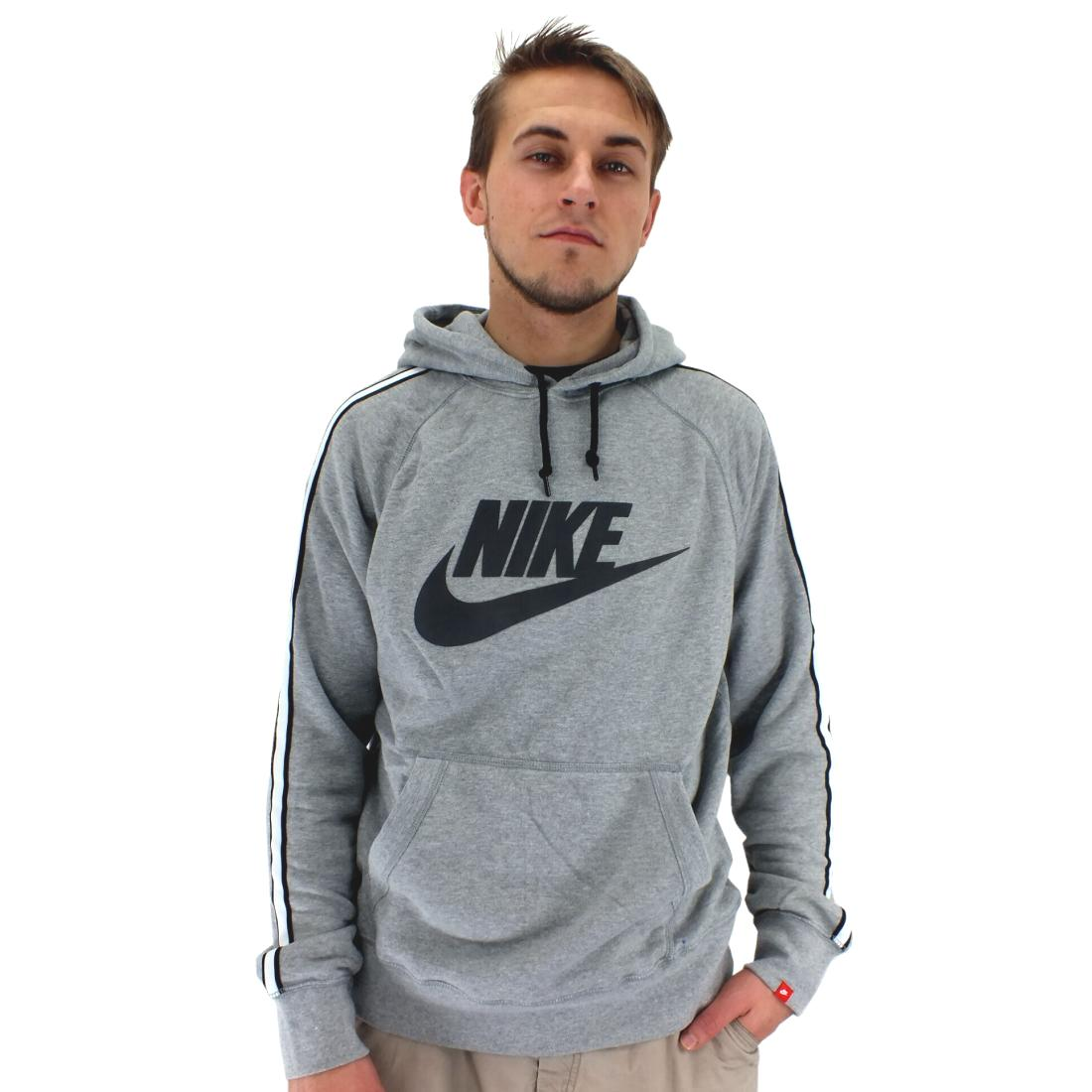 nike aw77 hood logo herren pullover kapuzenpullover sweatshirt schwarz grau. Black Bedroom Furniture Sets. Home Design Ideas