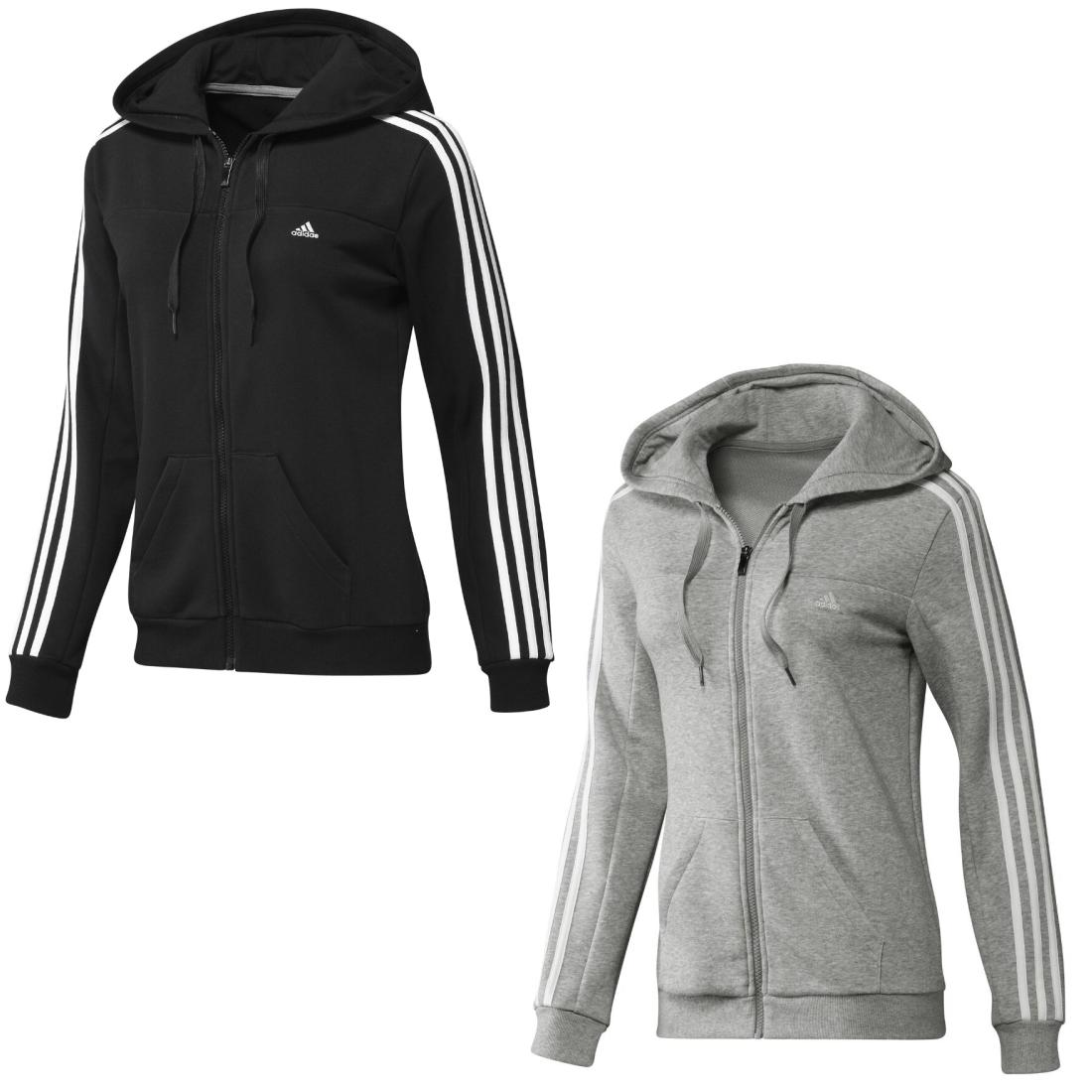 adidas essentials 3s hooded track top schwarz grau damen. Black Bedroom Furniture Sets. Home Design Ideas
