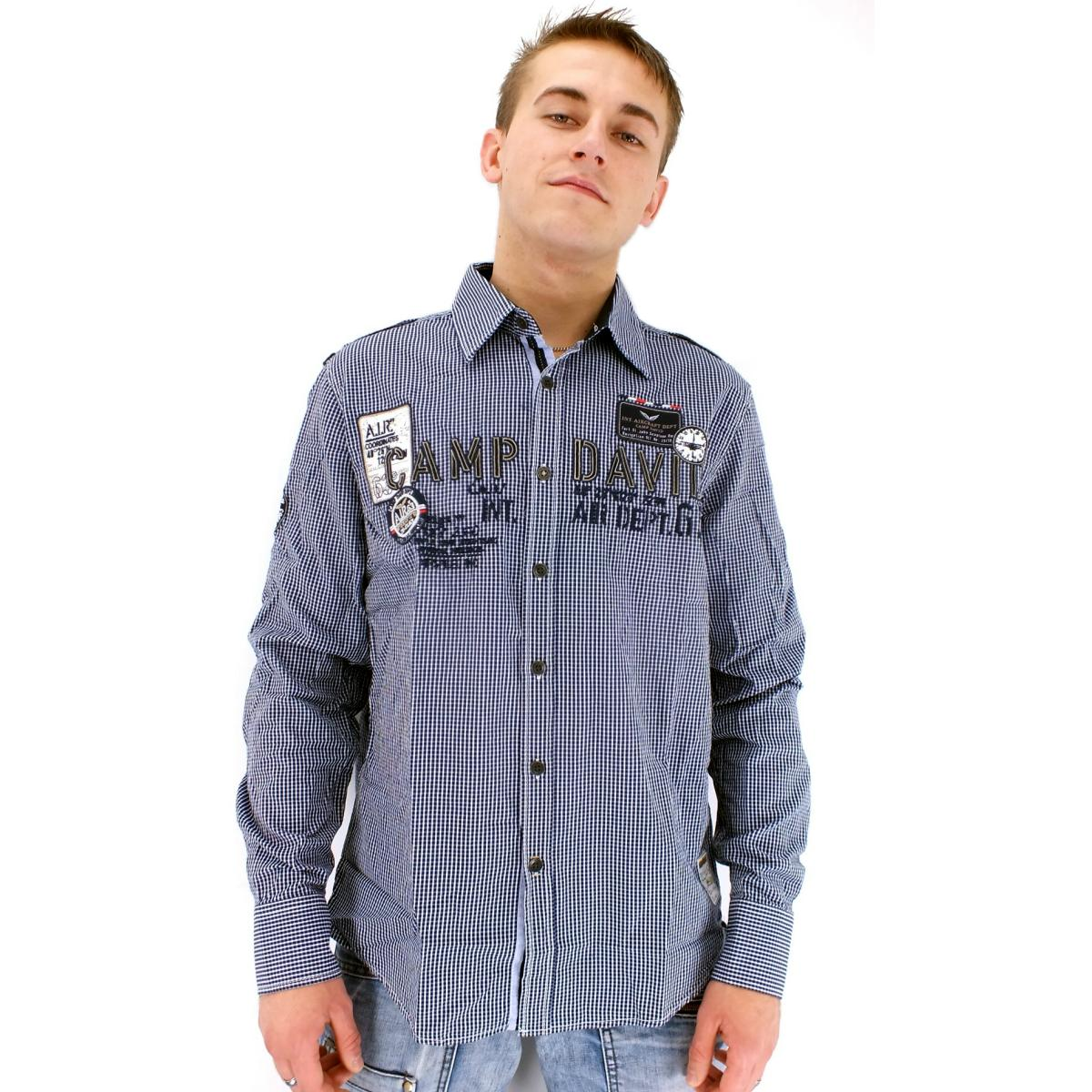 camp david british columbia karohemd herren hemd freizeithemd langarm blau ebay. Black Bedroom Furniture Sets. Home Design Ideas