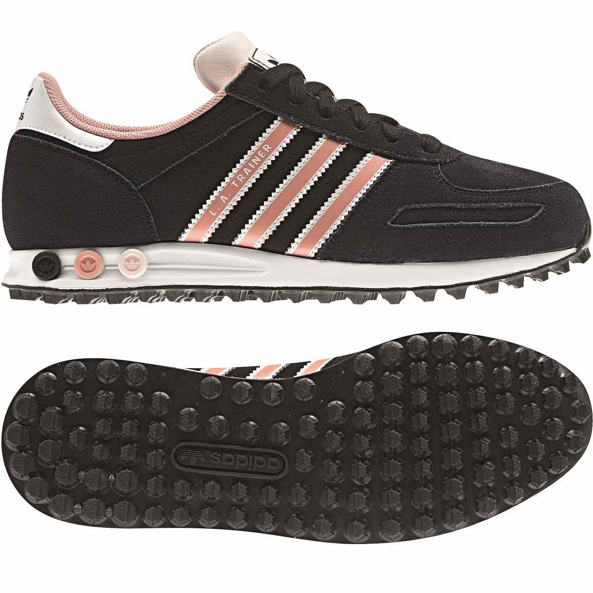 adidas la trainer damen schuhe turnschuhe sneakers schwarz rosa ebay. Black Bedroom Furniture Sets. Home Design Ideas