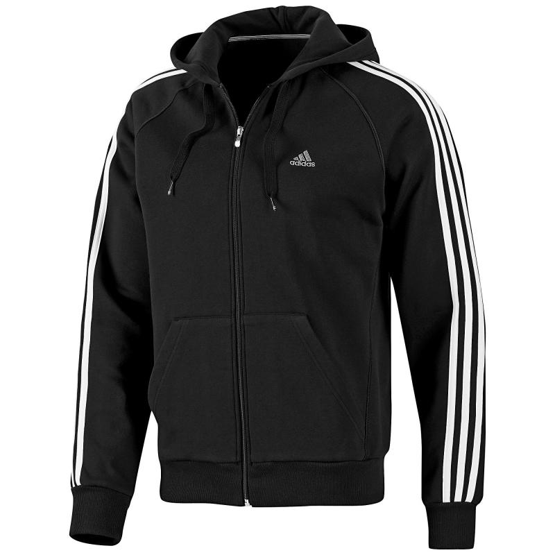 adidas ess 3s fz hood schwarz herren sweatjacke. Black Bedroom Furniture Sets. Home Design Ideas