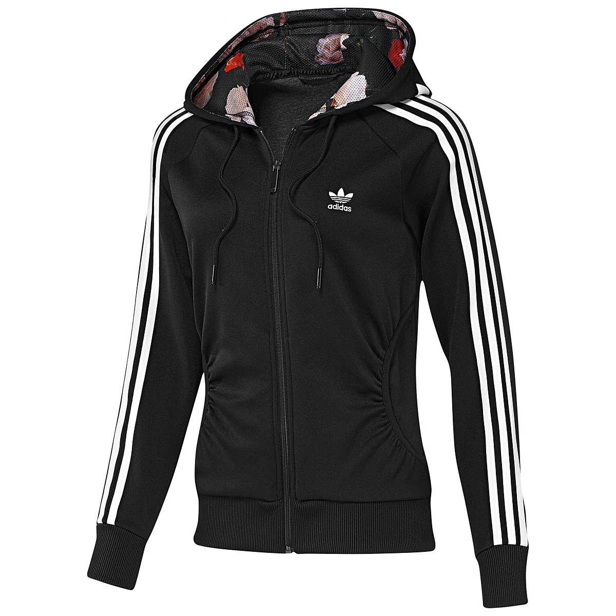 adidas originals girly hoodie damen baumwolle jacke kapuzenjacke blau grau ebay. Black Bedroom Furniture Sets. Home Design Ideas