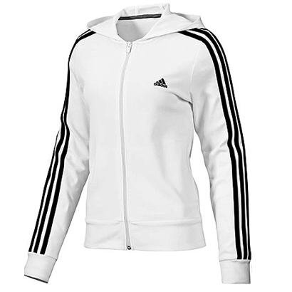 adidas ess 3s hooded jacket wei damen jacke trainingsjacke sweatjacke ebay. Black Bedroom Furniture Sets. Home Design Ideas