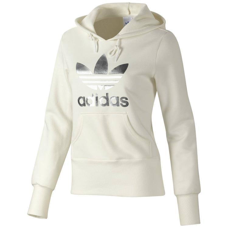 adidas trefoil hoodie women wei silber sweatshirt 36 ebay. Black Bedroom Furniture Sets. Home Design Ideas