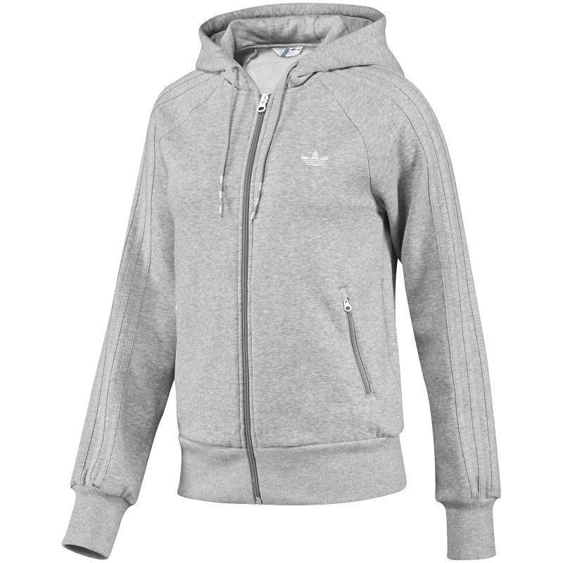 adidas fleece zip hoodie kapuzen jacke damen grau ebay. Black Bedroom Furniture Sets. Home Design Ideas