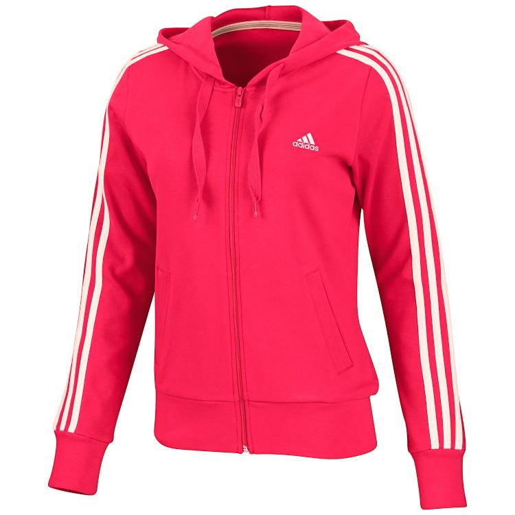 adidas ess 3s hooded jacket pink damen jacke trainingsjacke sweatjacke ebay. Black Bedroom Furniture Sets. Home Design Ideas