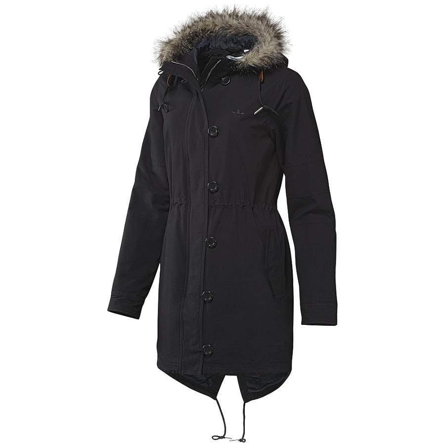 adidas fur woven parka schwarz damen jacke mantel parka ebay. Black Bedroom Furniture Sets. Home Design Ideas