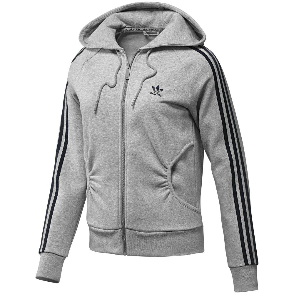 adidas originals zip fleece hoodie grau damen jacke sweatjacke sportjacke ebay. Black Bedroom Furniture Sets. Home Design Ideas
