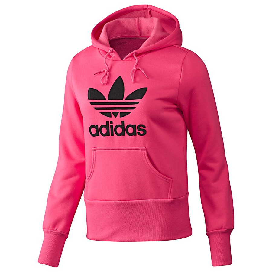 adidas originals trefoil flock hoodie super pink frauen. Black Bedroom Furniture Sets. Home Design Ideas