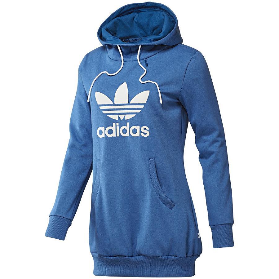 adidas originals long logo hoodie pullover kapuzenpullover damen blau ebay. Black Bedroom Furniture Sets. Home Design Ideas