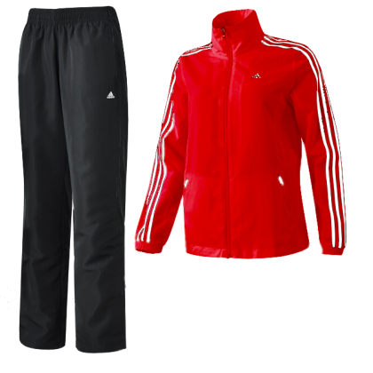 adidas ess 3s damen trainingsanzug woven suit rot schwarz. Black Bedroom Furniture Sets. Home Design Ideas