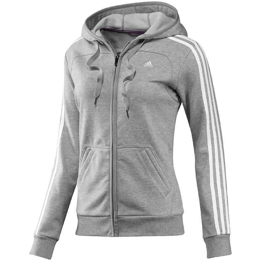 adidas ess 3s hood jacket damen jacke baumwolle grau sportjacke ebay. Black Bedroom Furniture Sets. Home Design Ideas
