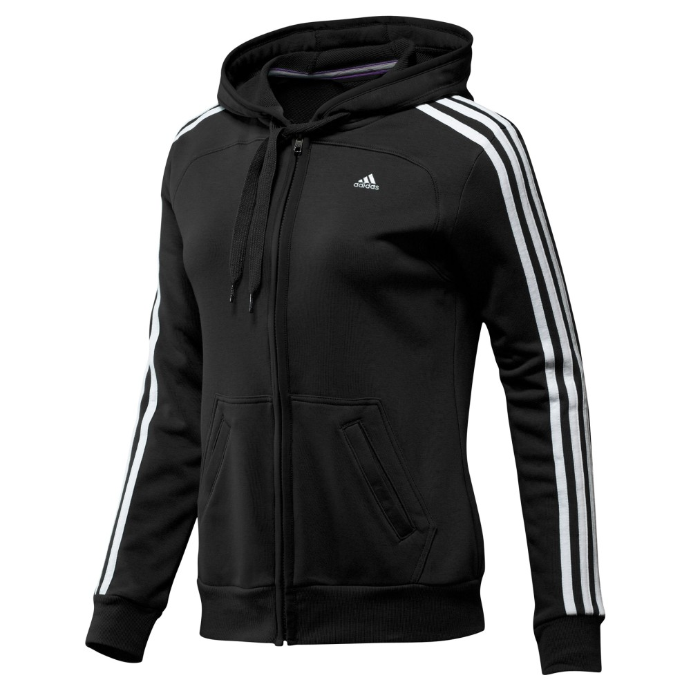 adidas essentials 3s hood damen jacke schwarz track top. Black Bedroom Furniture Sets. Home Design Ideas