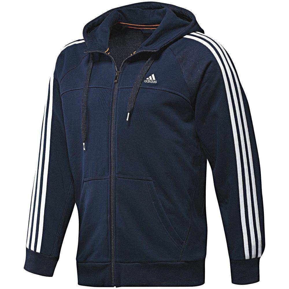 adidas ess 3s light fz hood jacke kapuzenjacke herren blau. Black Bedroom Furniture Sets. Home Design Ideas