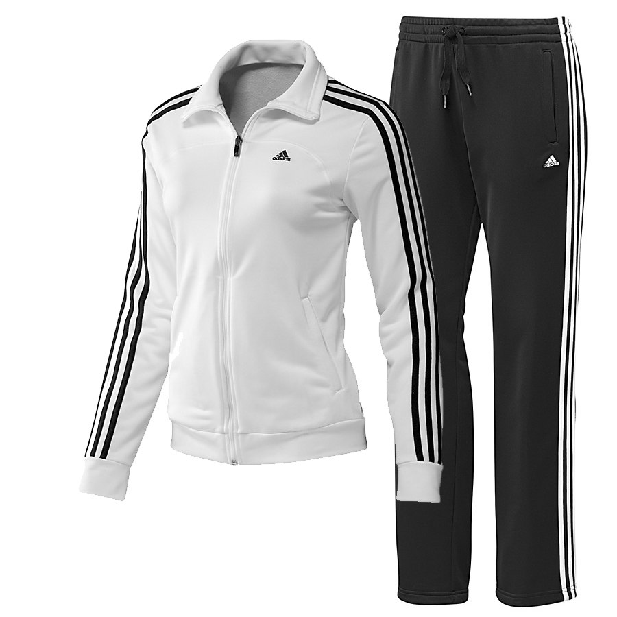 adidas essentials 3s knit suit wei schwarz damen. Black Bedroom Furniture Sets. Home Design Ideas