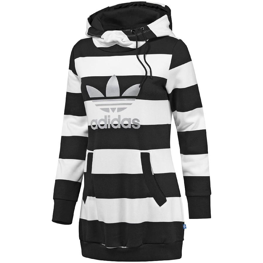 adidas originals long striped hoodie damen pullover lang sweatshirt gestreift ebay. Black Bedroom Furniture Sets. Home Design Ideas