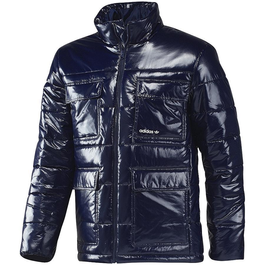 adidas originals shiny padded jacket dark indigo herren. Black Bedroom Furniture Sets. Home Design Ideas
