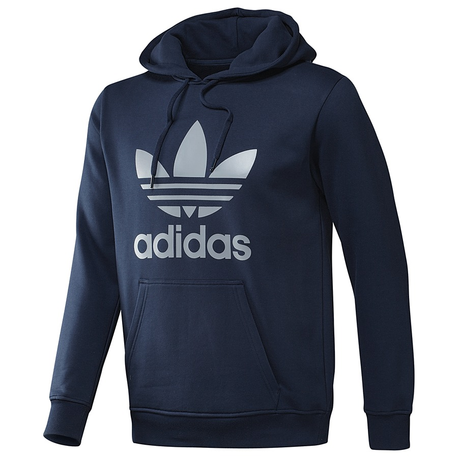 adidas originals trefoil hoodie dunkelblau herren sweatshirt kapuzenpullover ebay. Black Bedroom Furniture Sets. Home Design Ideas