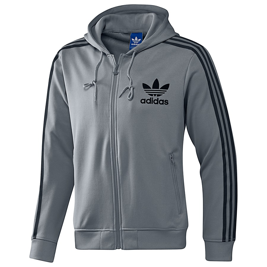 adidas originals adi hooded flock track top tech grey. Black Bedroom Furniture Sets. Home Design Ideas