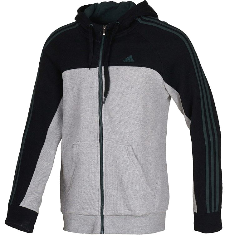adidas ess 3s fz hood db grau herren jacke baumwolle. Black Bedroom Furniture Sets. Home Design Ideas