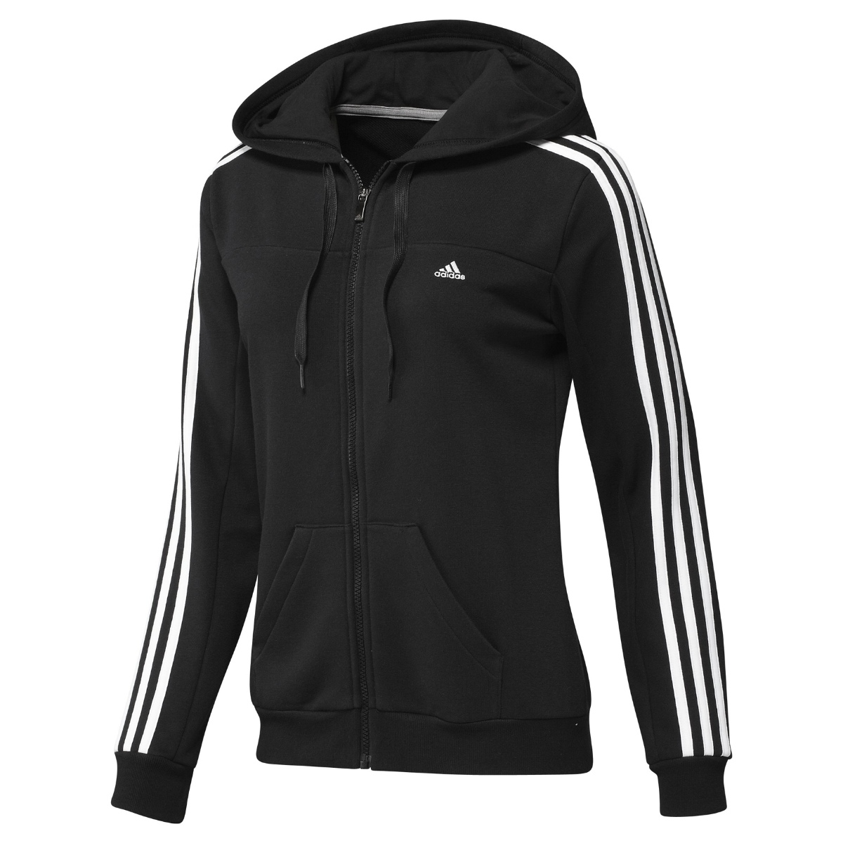 adidas essentials 3s hooded track top schwarz grau damen. Black Bedroom Furniture Sets. Home Design Ideas