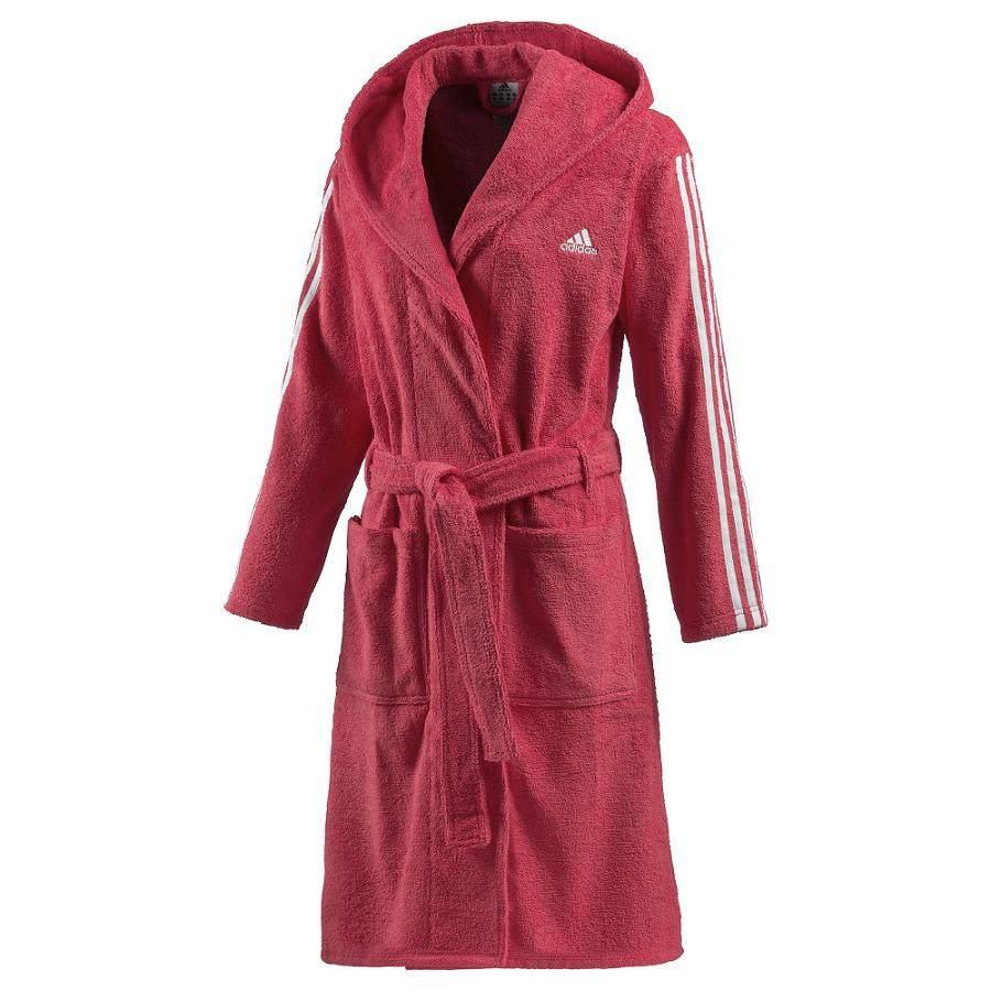 adidas 3 stripes bathrobe joy rot damen bademantel. Black Bedroom Furniture Sets. Home Design Ideas