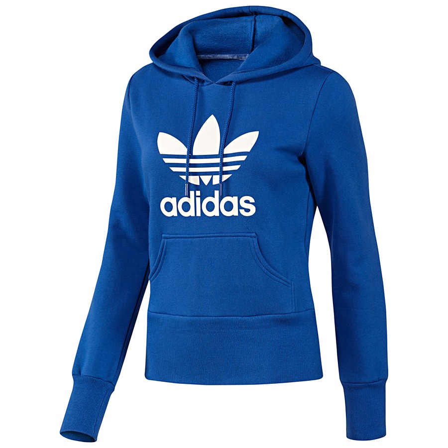 adidas originals trefoil logo hoodie blau damen pullover. Black Bedroom Furniture Sets. Home Design Ideas