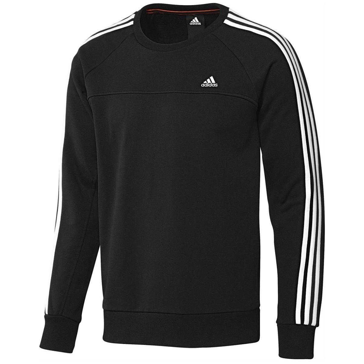adidas essentials 3 stripes crew sweat pullover sweater langarm herren schwarz ebay. Black Bedroom Furniture Sets. Home Design Ideas