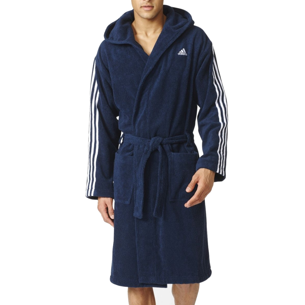 adidas 3 stripes bademantel collegiate navy herren ao0064 blau ebay. Black Bedroom Furniture Sets. Home Design Ideas
