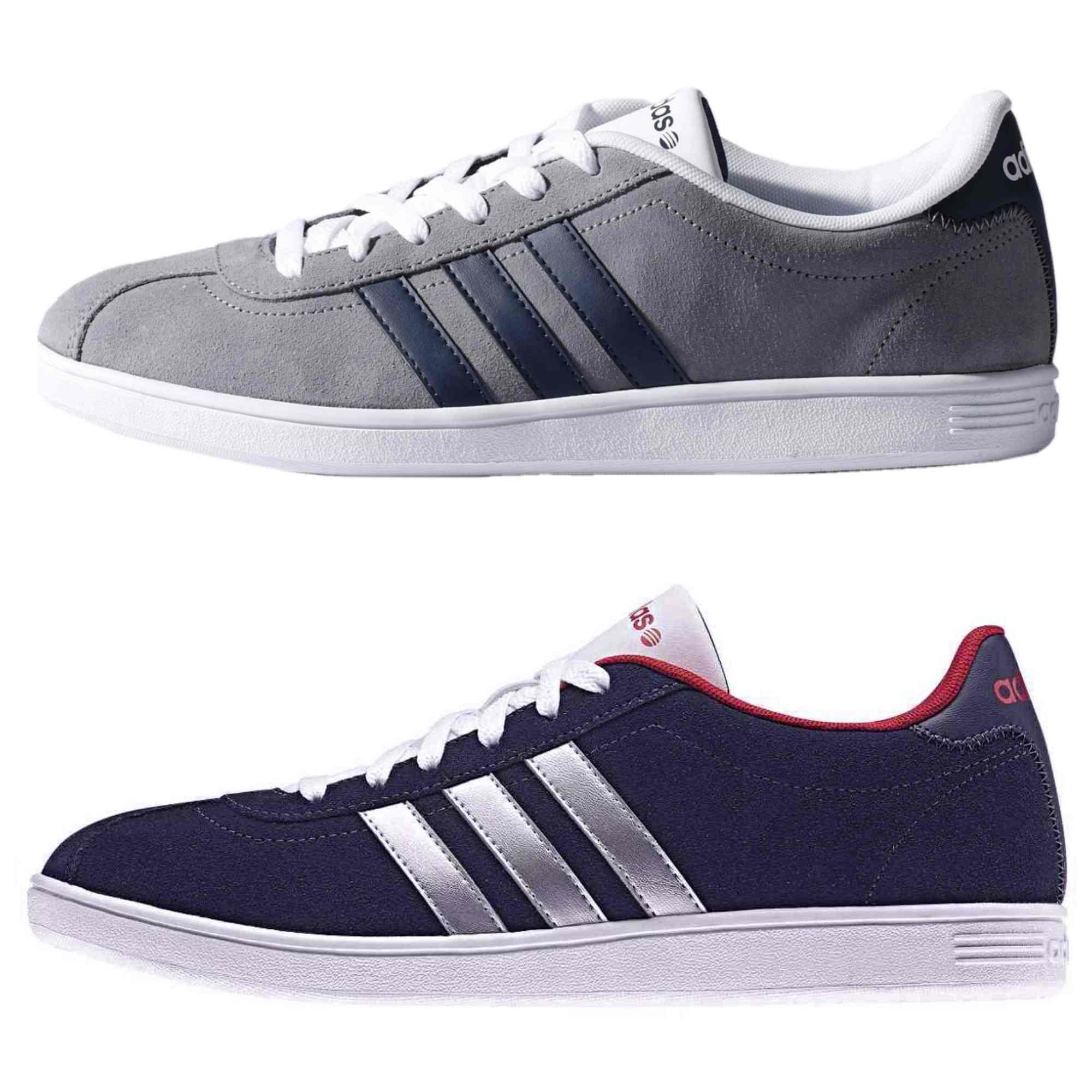adidas vl court men 39 s sneaker trainer grey or dark blue ebay. Black Bedroom Furniture Sets. Home Design Ideas
