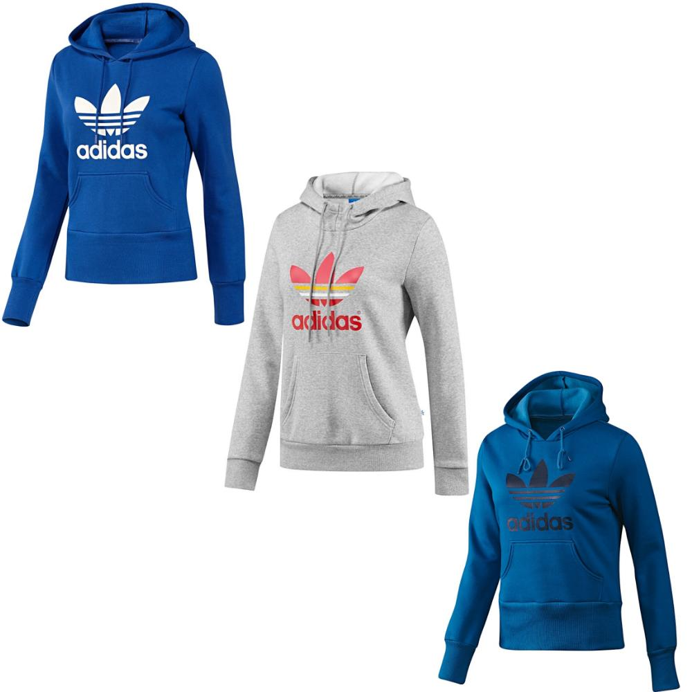 adidas originals trefoil logo hoodie kapuzenpullover fitness damen grau blau ebay. Black Bedroom Furniture Sets. Home Design Ideas