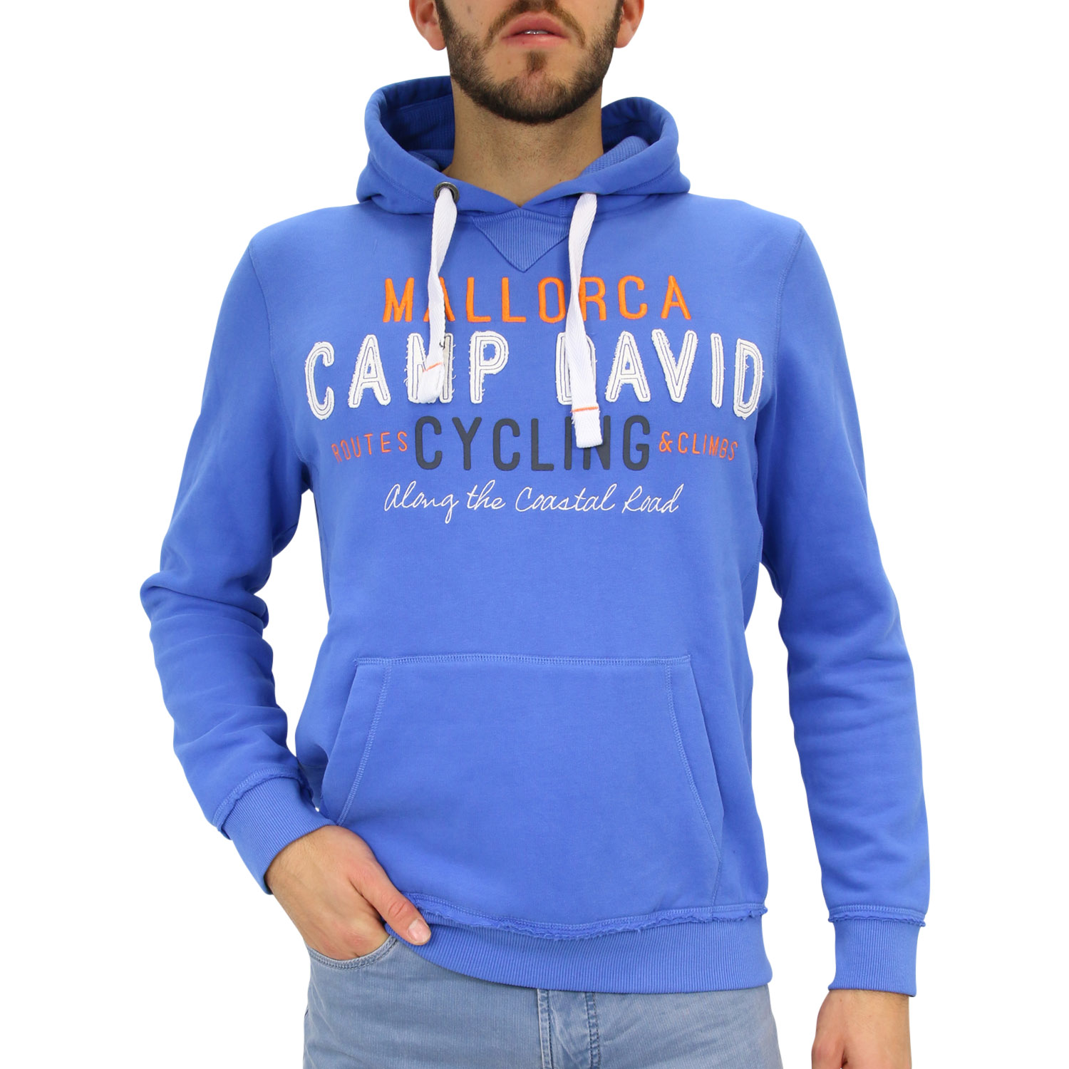 camp david hoodie mit artwork pullover kapuzenpullover herren blau ebay. Black Bedroom Furniture Sets. Home Design Ideas