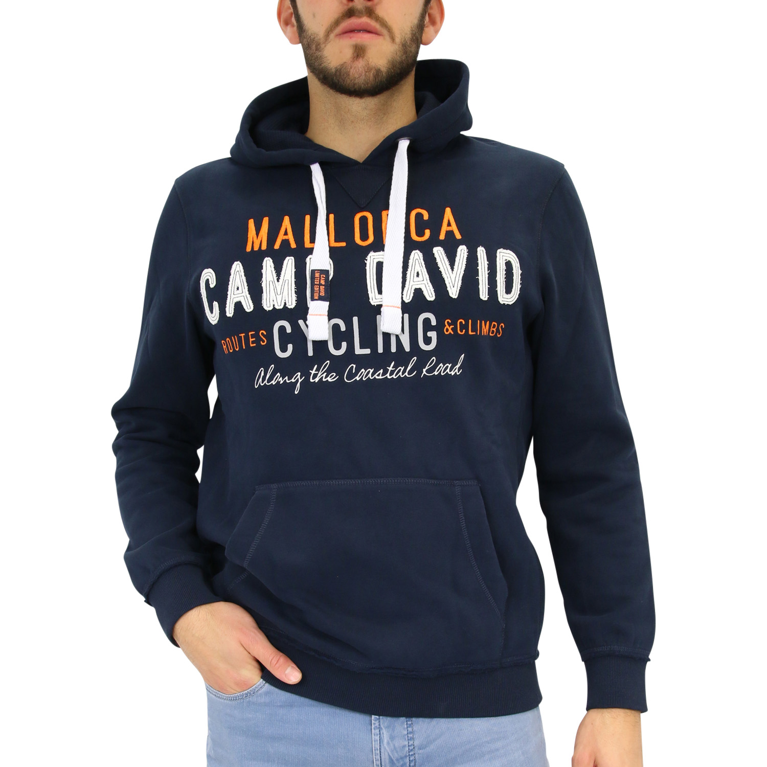 camp david hoodie mit artwork pullover kapuzenpullover herren dunkelblau ebay. Black Bedroom Furniture Sets. Home Design Ideas