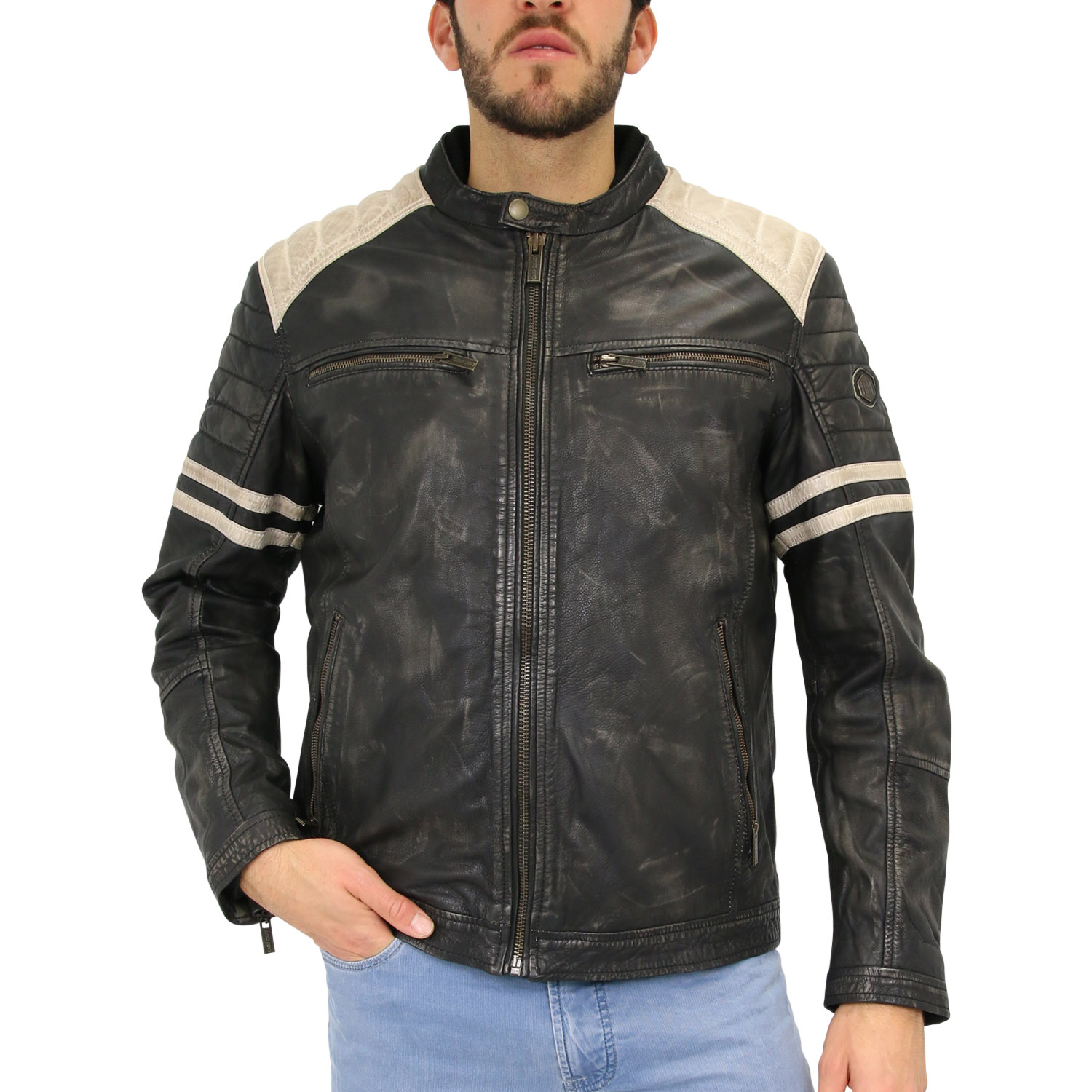 camp david leather jacket jacke lederjacke bikerjacke herren schwarz ebay. Black Bedroom Furniture Sets. Home Design Ideas