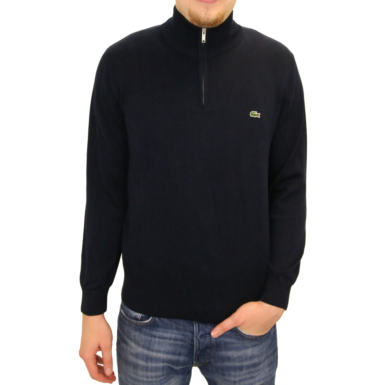 lacoste pullover jumper with zip cotton men 39 s ebay. Black Bedroom Furniture Sets. Home Design Ideas