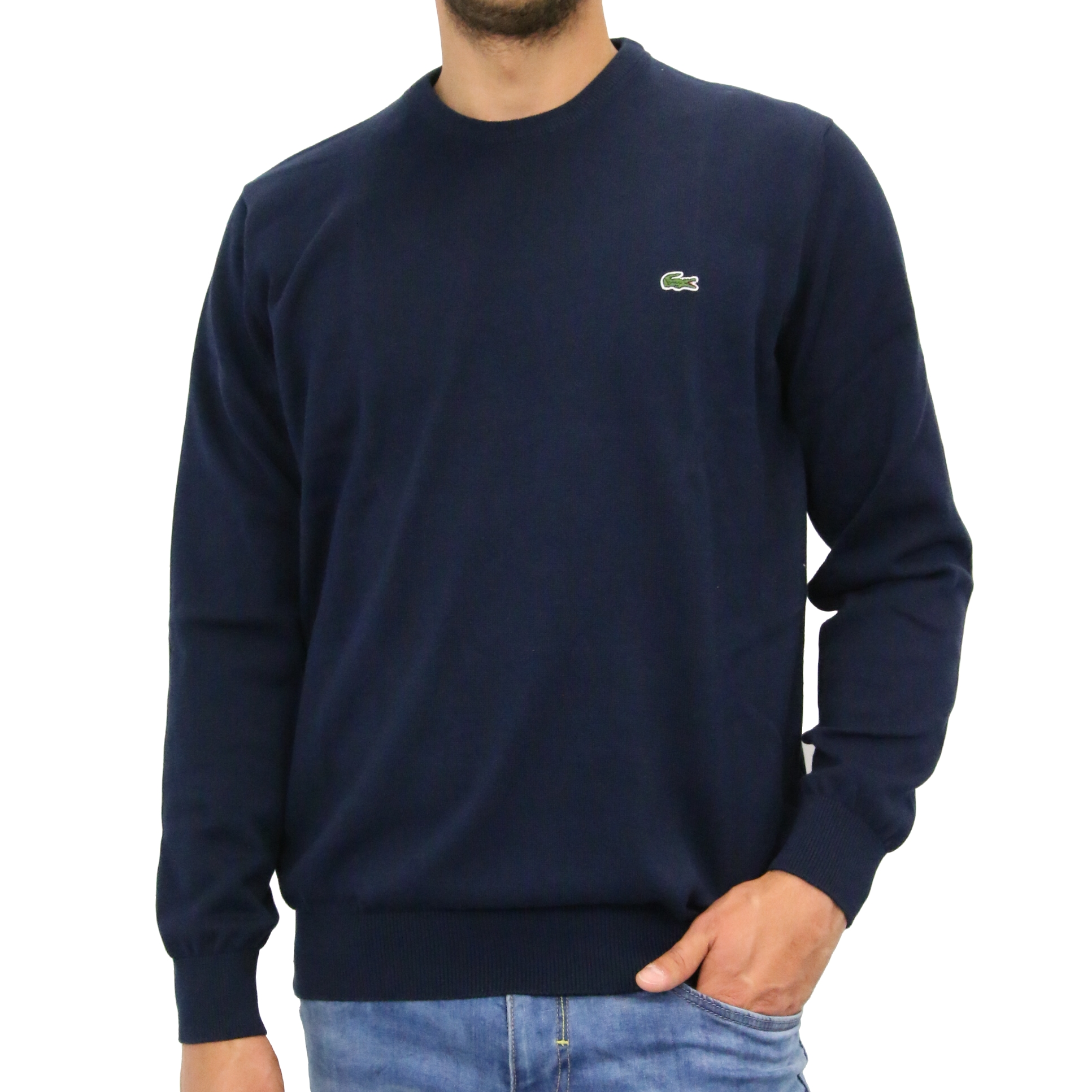 lacoste rundhals pullover feinstrickpullover herren ebay. Black Bedroom Furniture Sets. Home Design Ideas