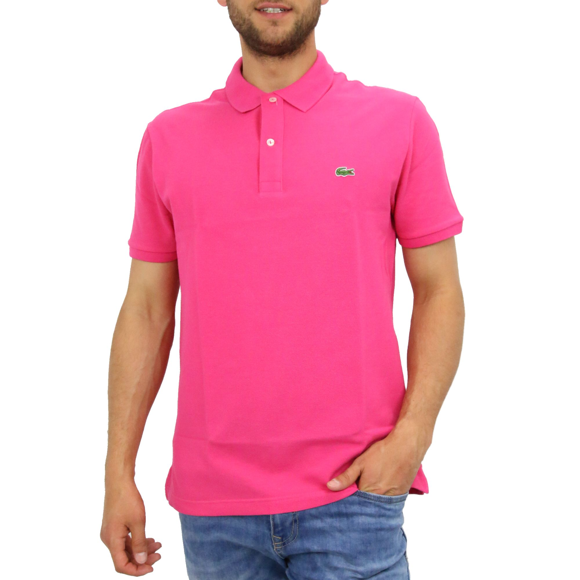 Lacoste slim fit polo shirt men 39 s ph4012 ebay for Mens slim polo shirts