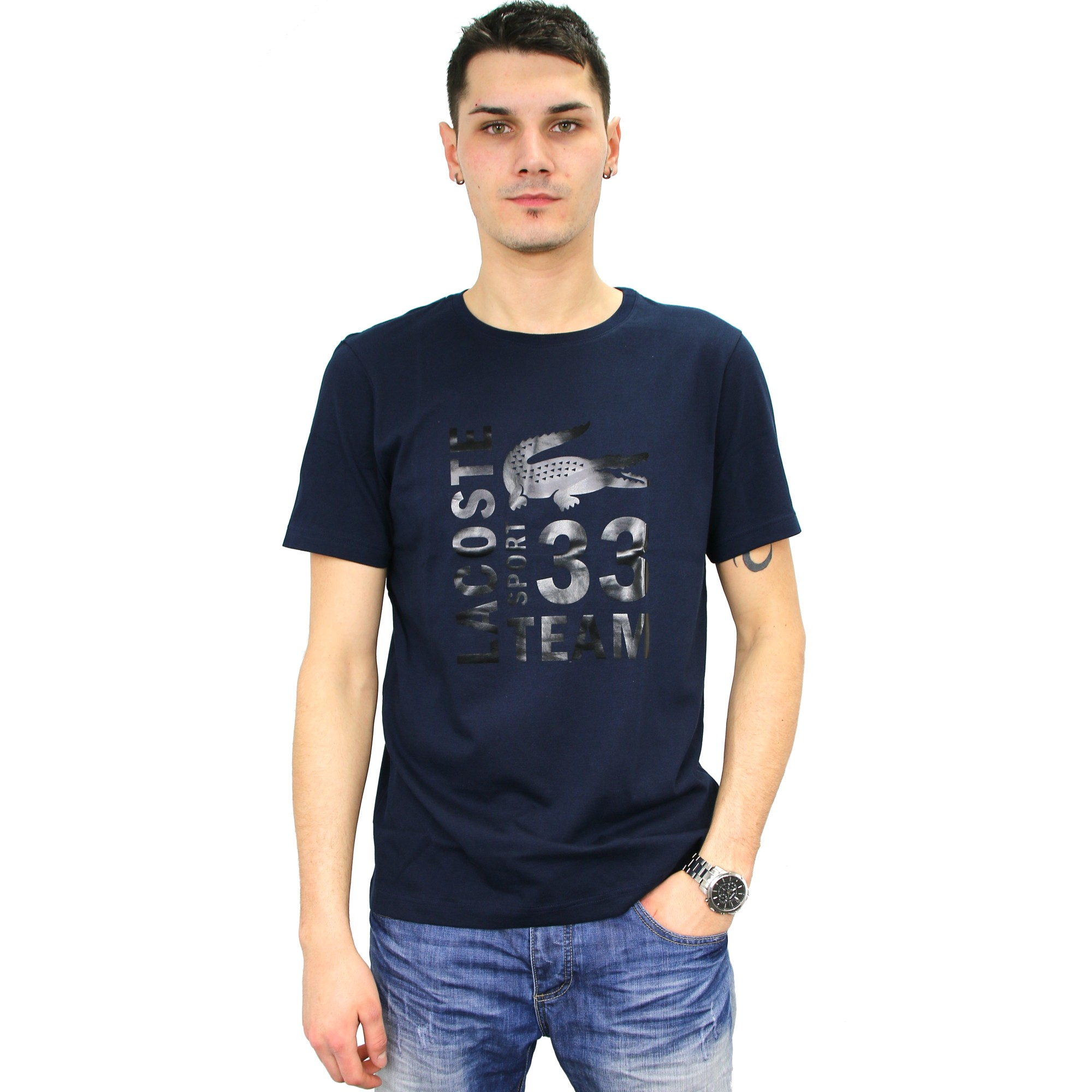 lacoste sport t shirt th7406 men 39 s shirt black white red dark blue. Black Bedroom Furniture Sets. Home Design Ideas