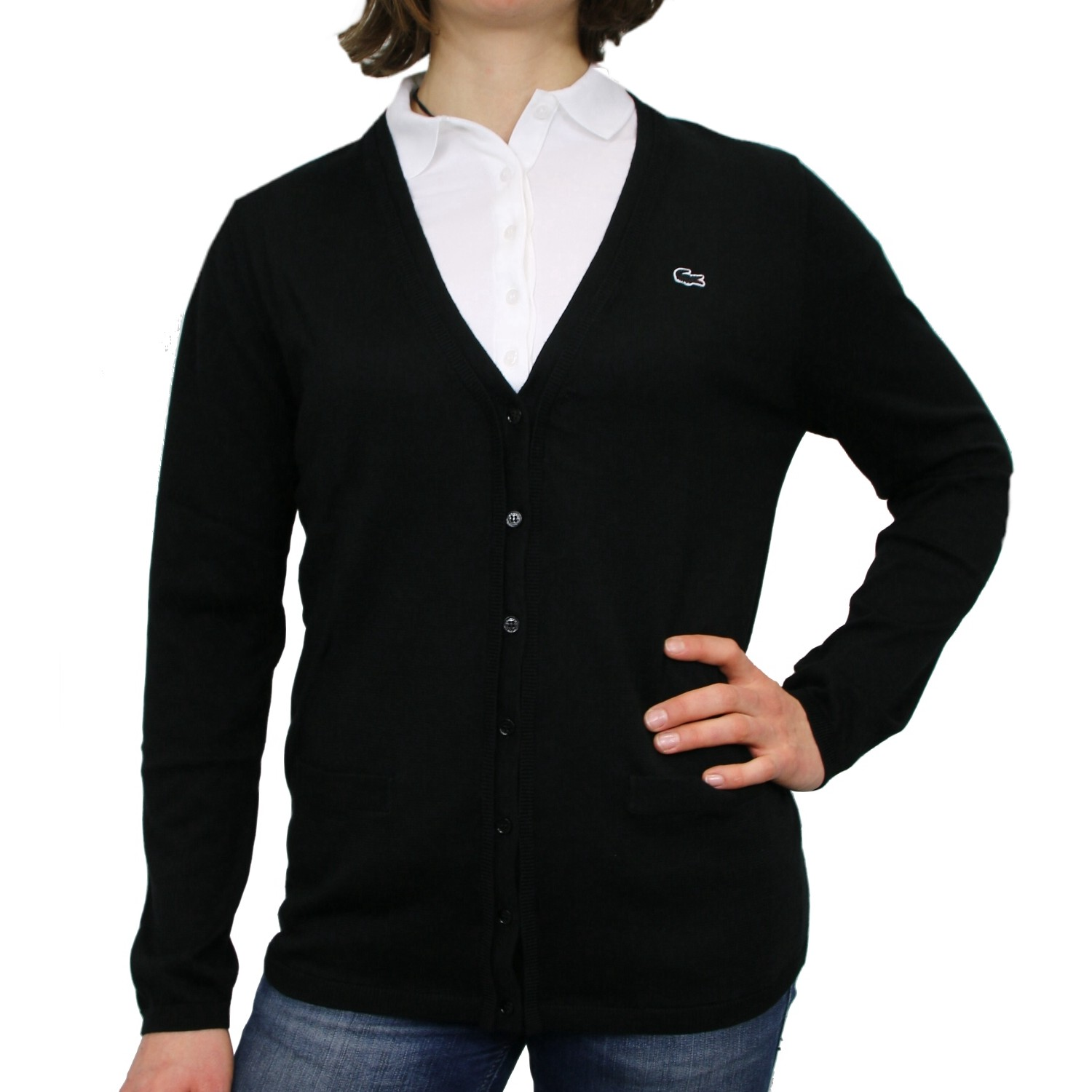 lacoste strickjacke damen cardigan wolle jacke diverse farben ebay. Black Bedroom Furniture Sets. Home Design Ideas