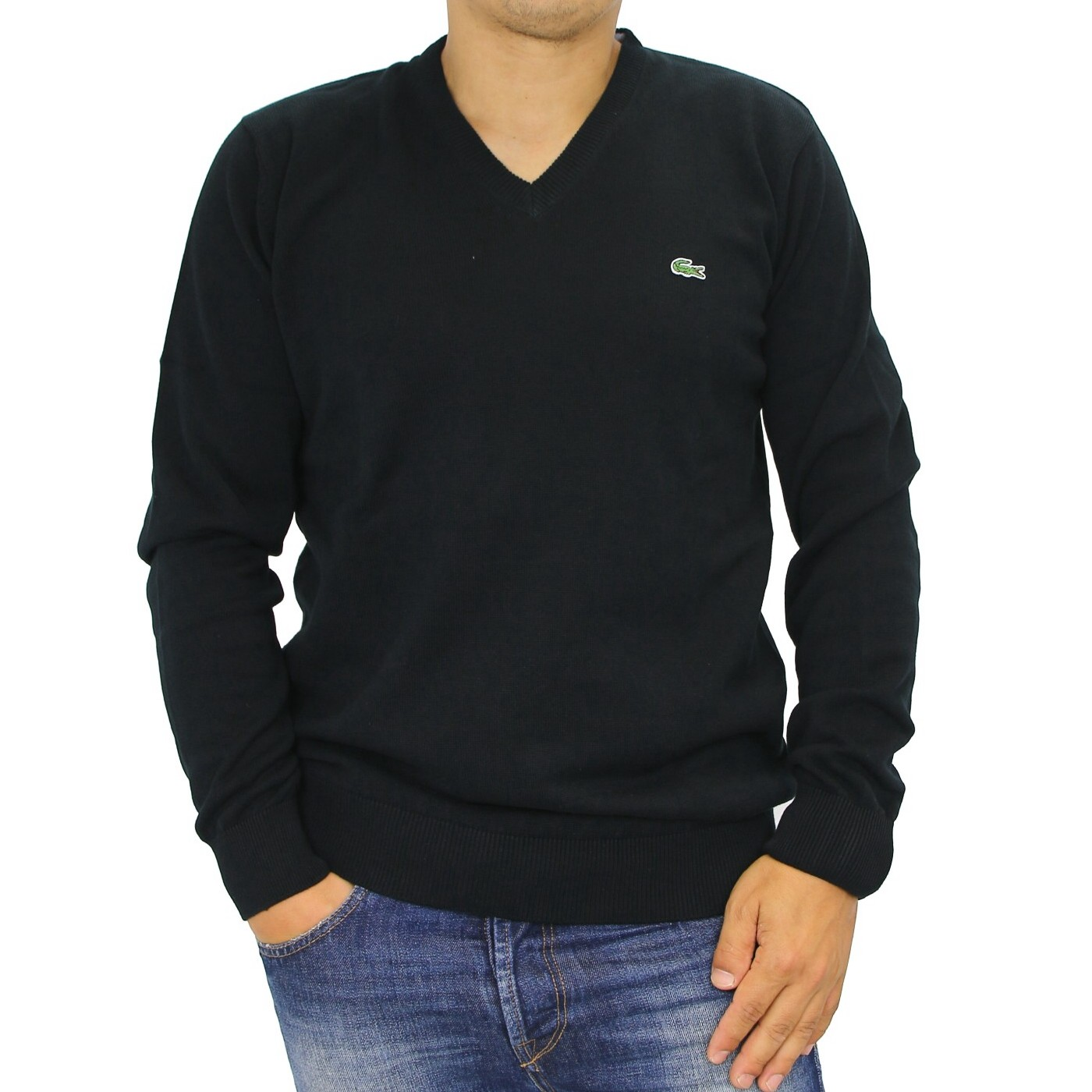 lacoste strickpullover v neck pullover v ausschnitt herren grau schwarz ebay. Black Bedroom Furniture Sets. Home Design Ideas
